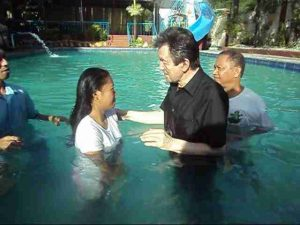 Baptised in Jesus mighty Name.