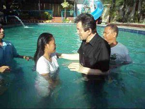 Baptised in Jesus mighty Name.
