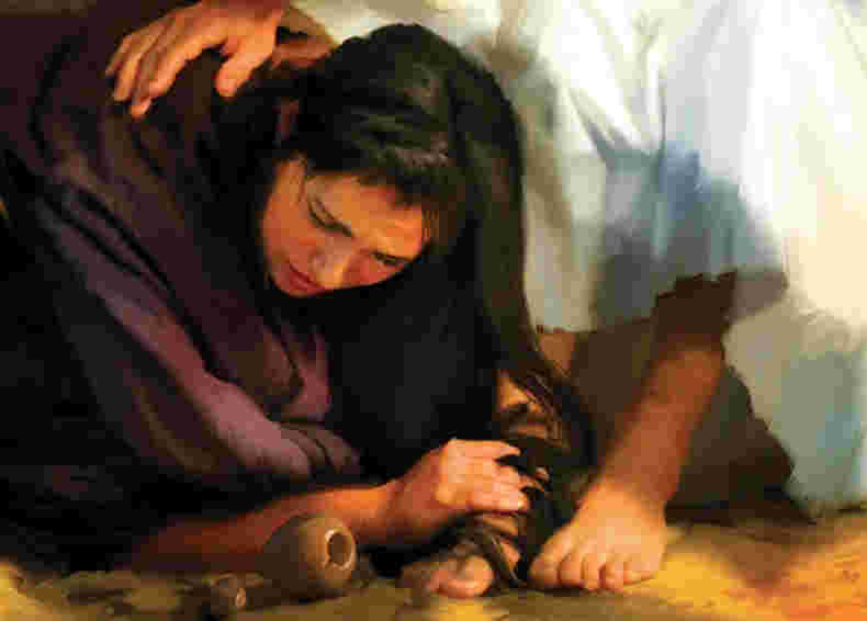 prostitutes were bathing Jesus feet with tears.